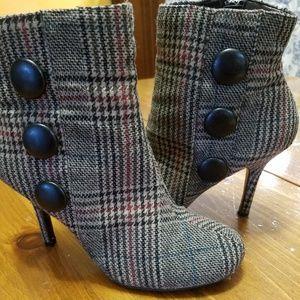 "Diba brown plaid fabric booties 3.5"" heel"